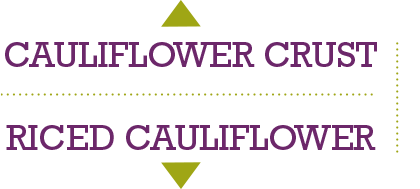 Cauliflower Crust and Riced Cauliflower